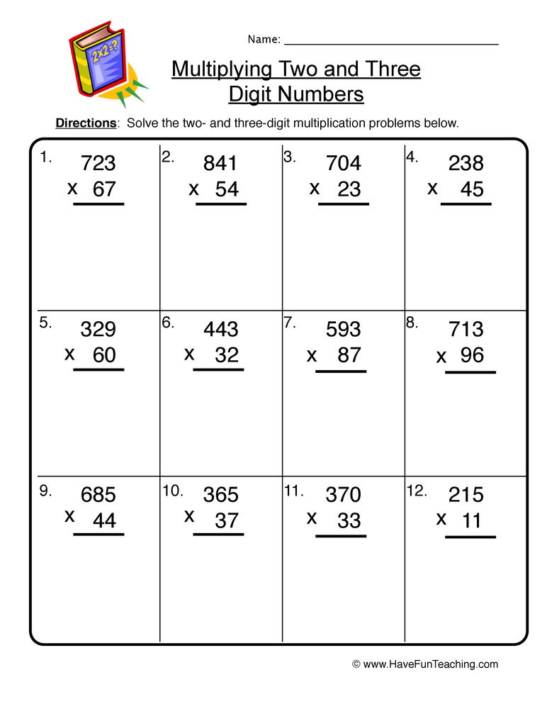 two and three digit multiplication worksheet 1
