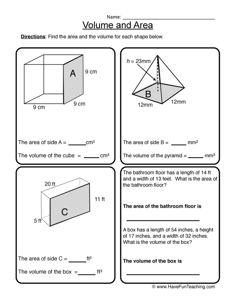 volume area worksheet 1