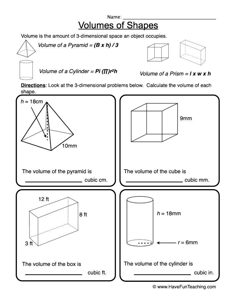 Volume of 3D Shapes Worksheet • Have Fun Teaching