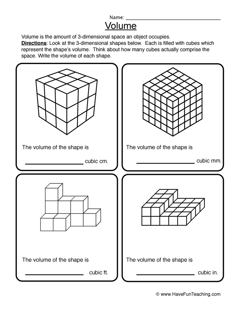 Math Volume Worksheets Resources