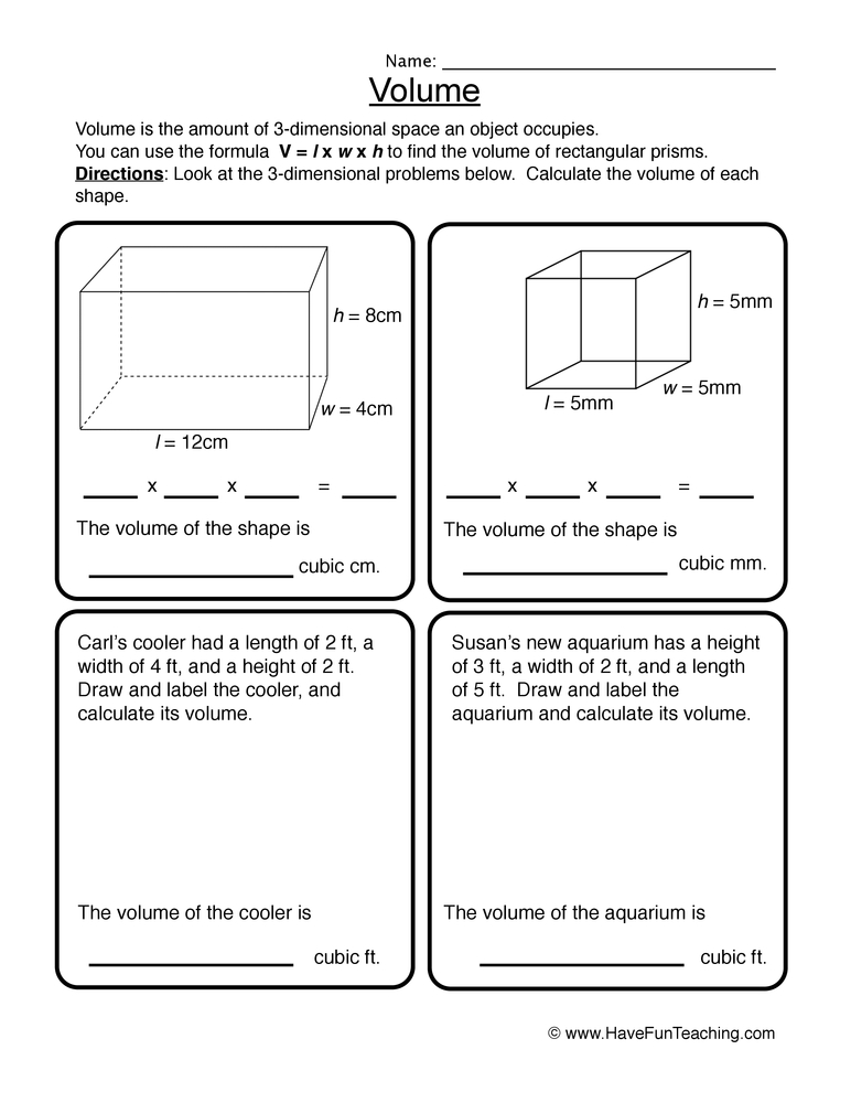 volume worksheet 2