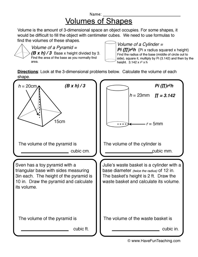volume worksheet 3