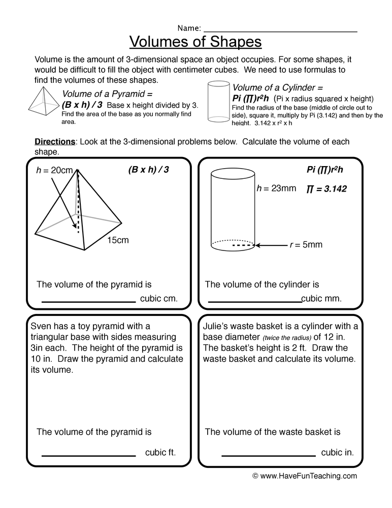 Volume Worksheets – Cylinder Volume Worksheet