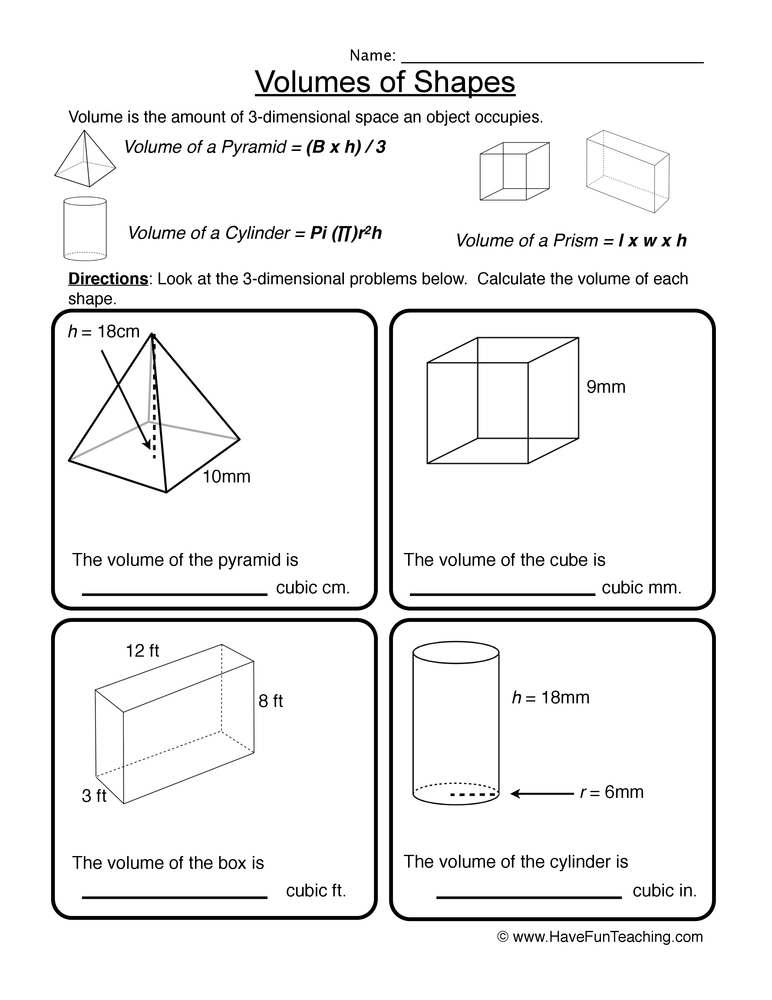volume worksheet 4