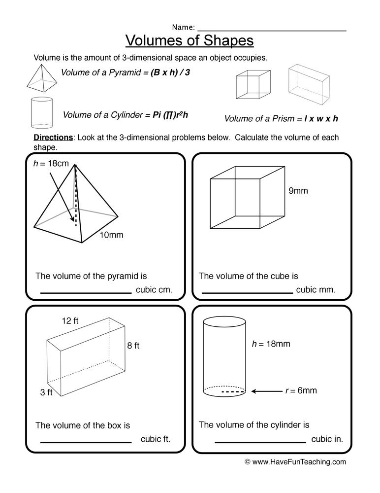 Volume of 3D Shapes Worksheet | Have Fun Teaching
