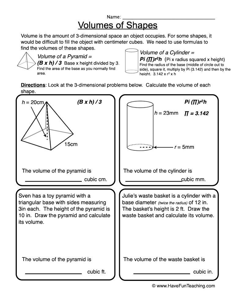 Volume of Shapes Worksheet • Have Fun Teaching