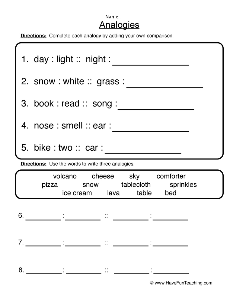 analogies worksheet 1