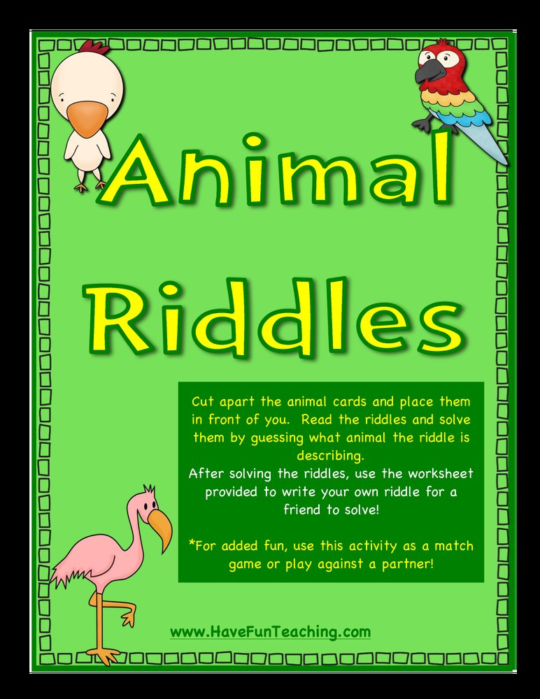 animal riddles activity