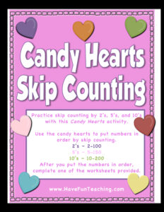 Candy Hearts Skip Counting Activity