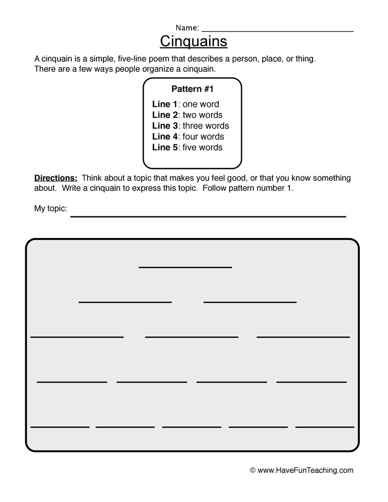 cinquain worksheet 1