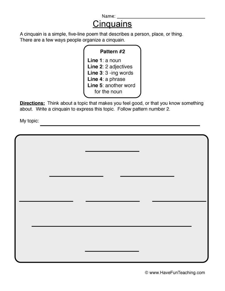 cinquain worksheet 2