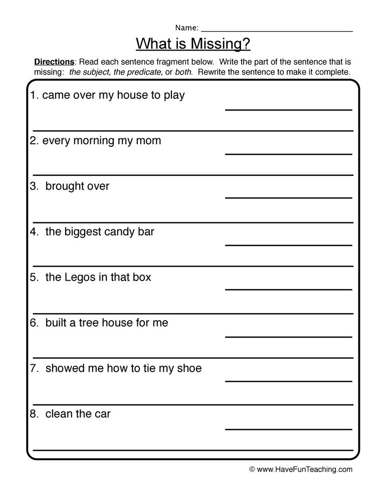 What is Missing? – Complete Incomplete Sentences Worksheet 2
