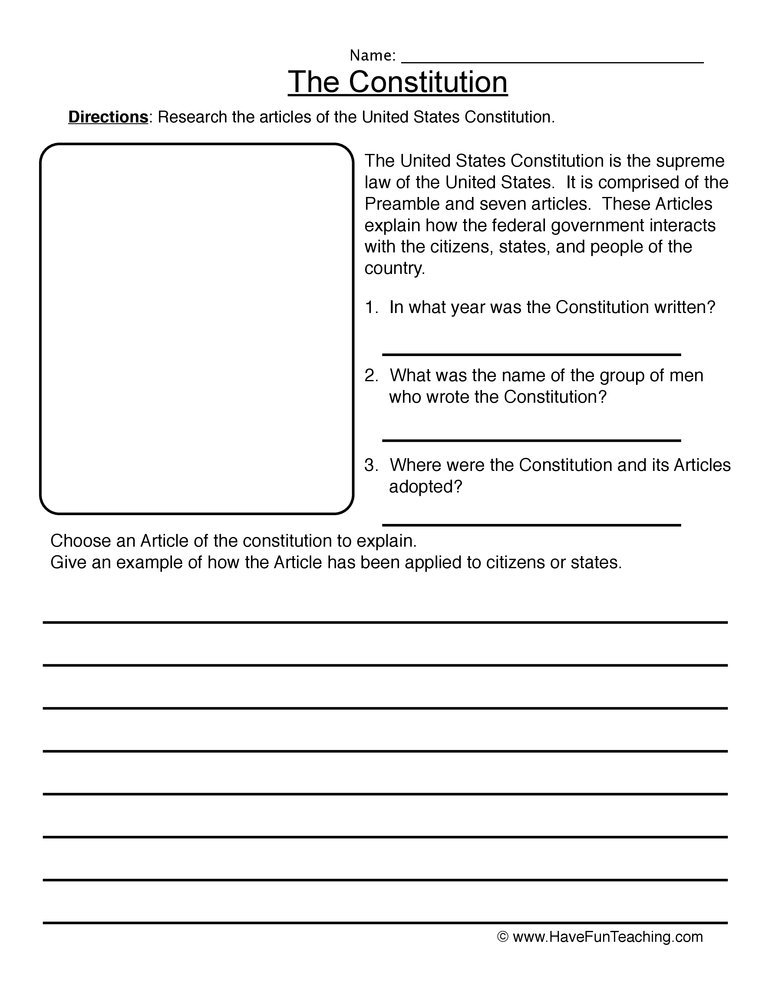 Printables The Constitution Worksheet constitution worksheet worksheet