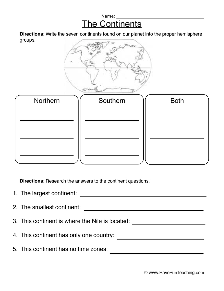 continents worksheet 1