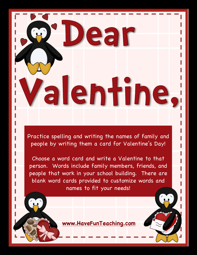 dear valentine valentines day cards activity