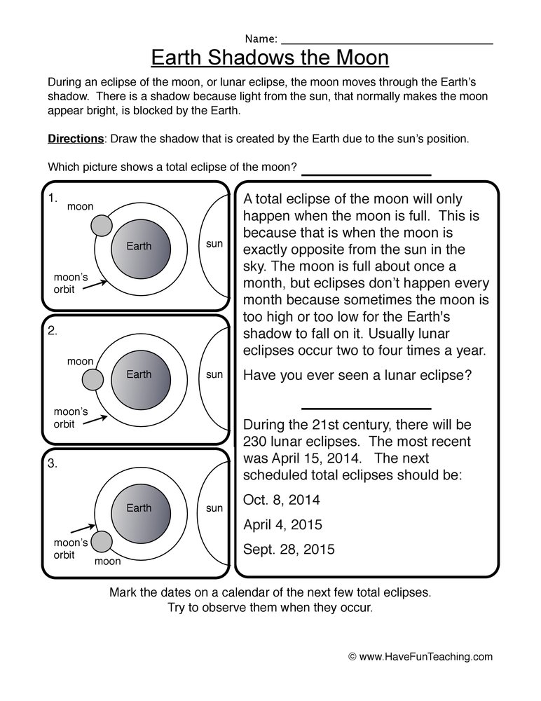 earth moon worksheet