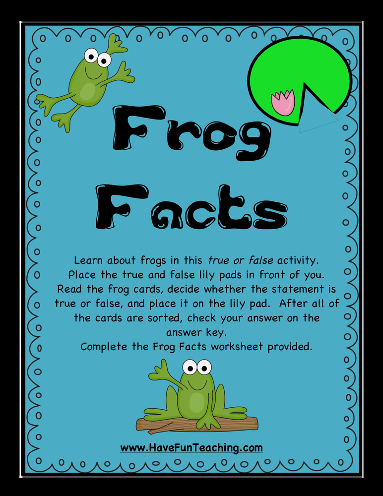 frog facts true false activity