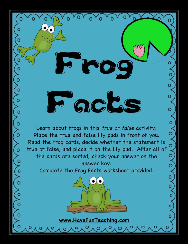 frog facts true false activity