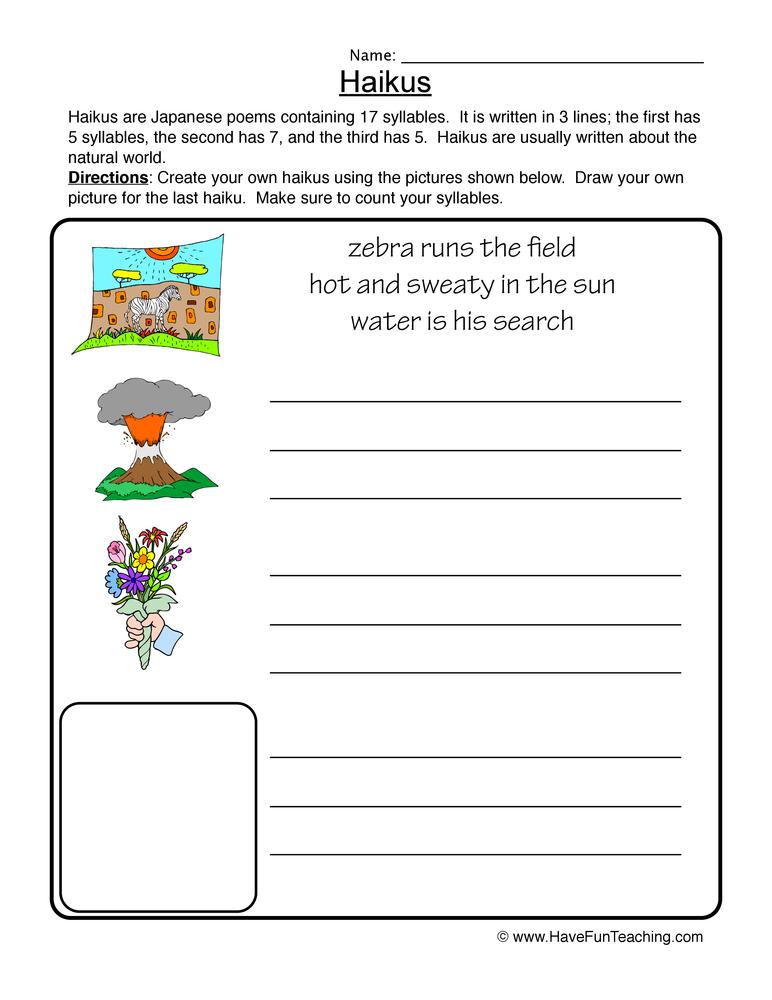 worksheets haiku worksheet opossumsoft worksheets and printables. Black Bedroom Furniture Sets. Home Design Ideas
