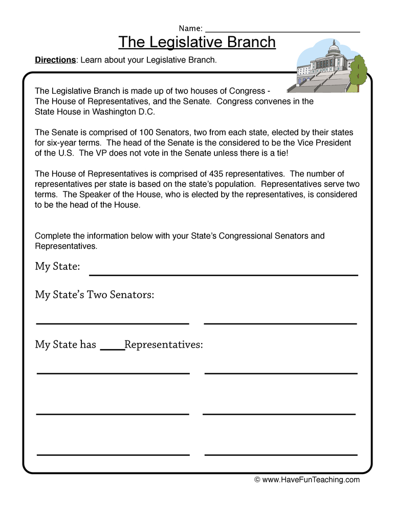 Legislative Branch Worksheet