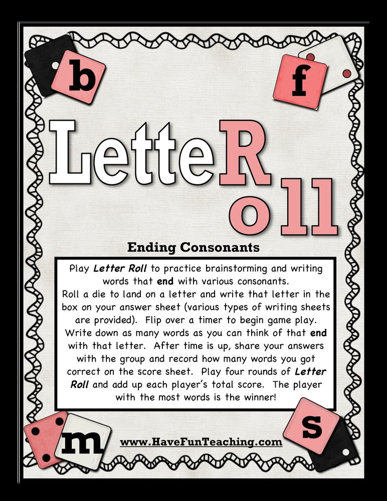 letter roll ending sounds activity