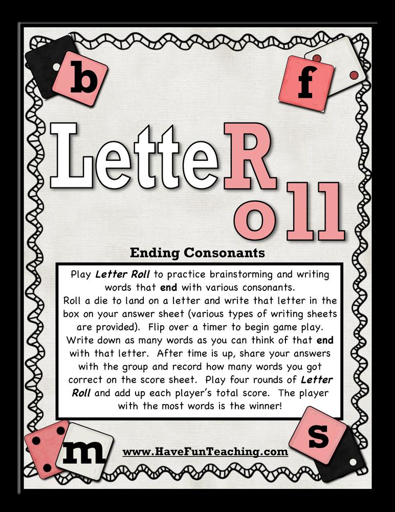 Letter Roll Ending Sounds Activity