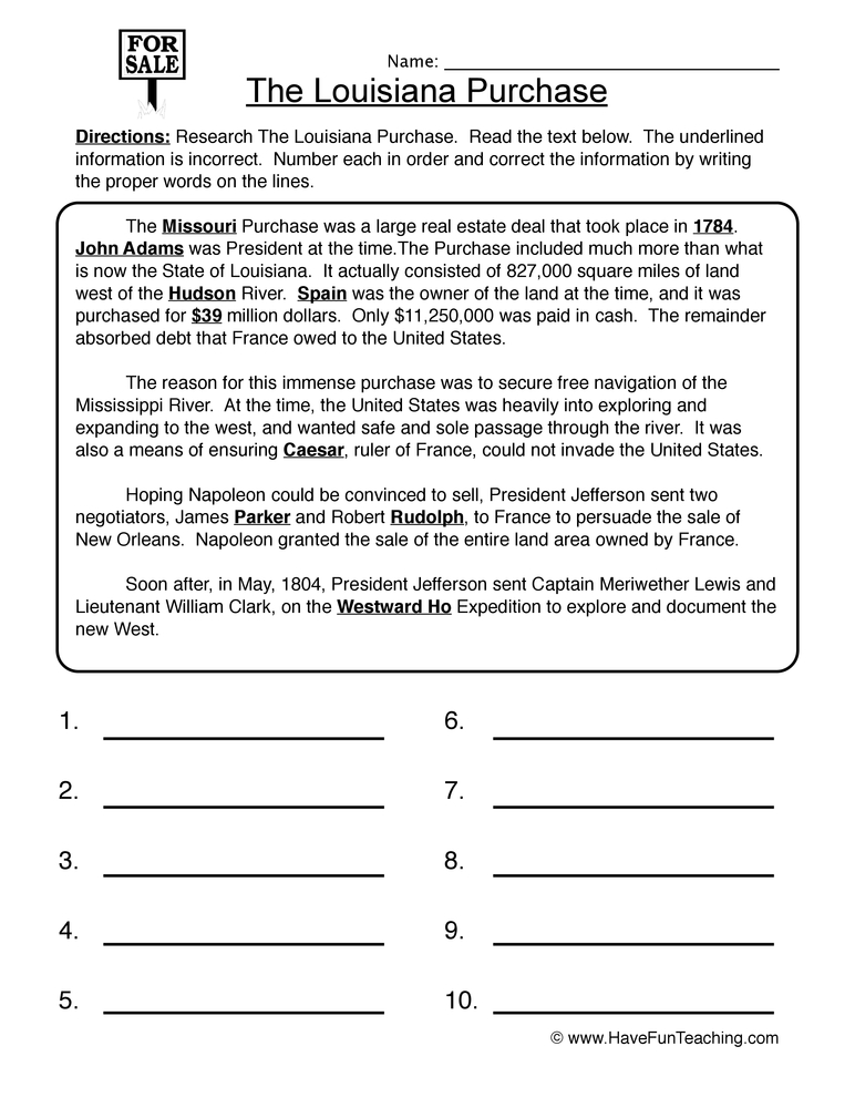 louisiana purchase worksheet 1