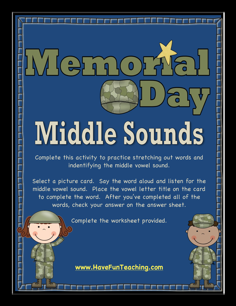 memorial day middle sounds activity