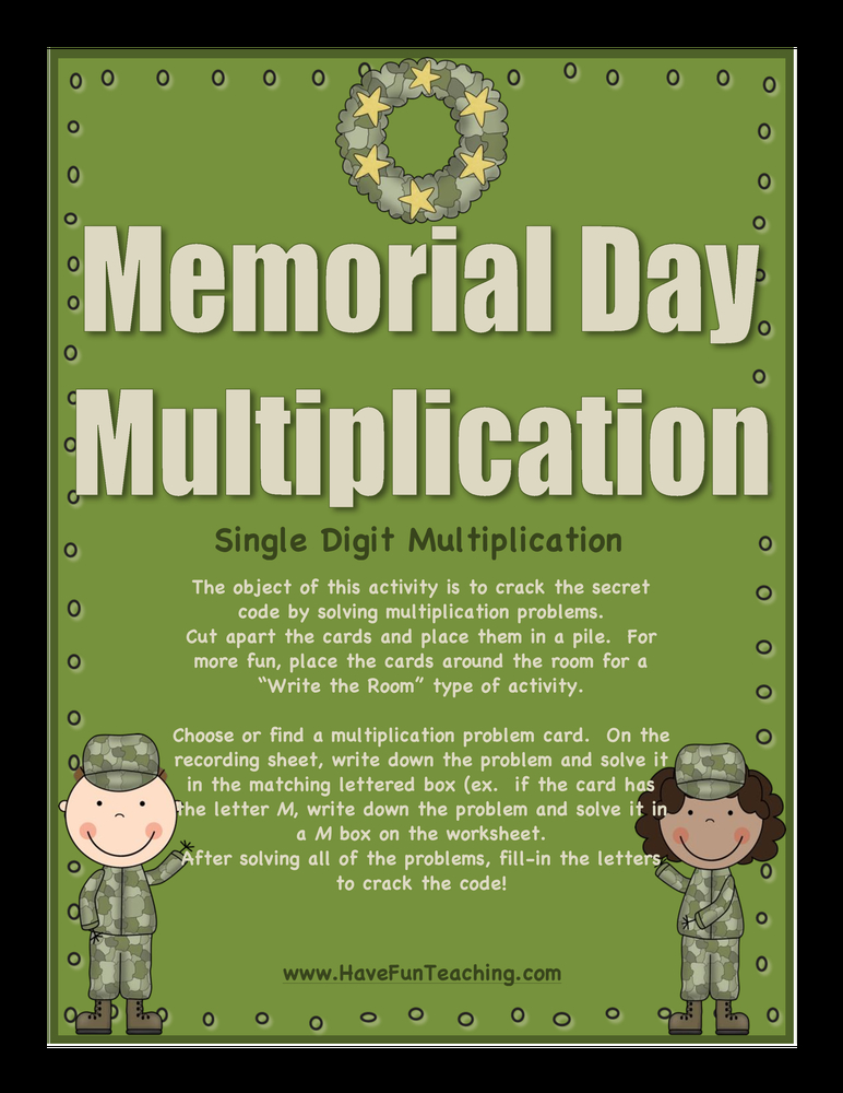 memorial day multiplication activity