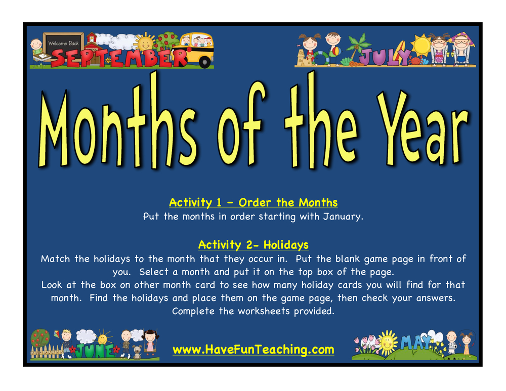 months of the year activity