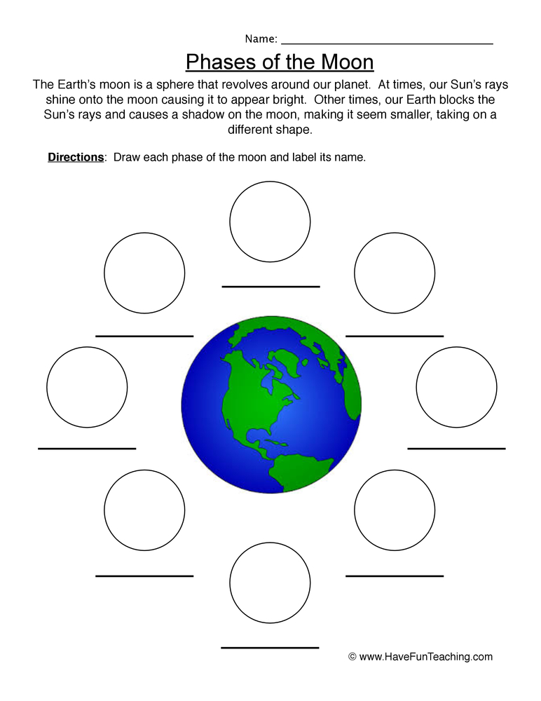 phases of the moon worksheet pdf. Black Bedroom Furniture Sets. Home Design Ideas