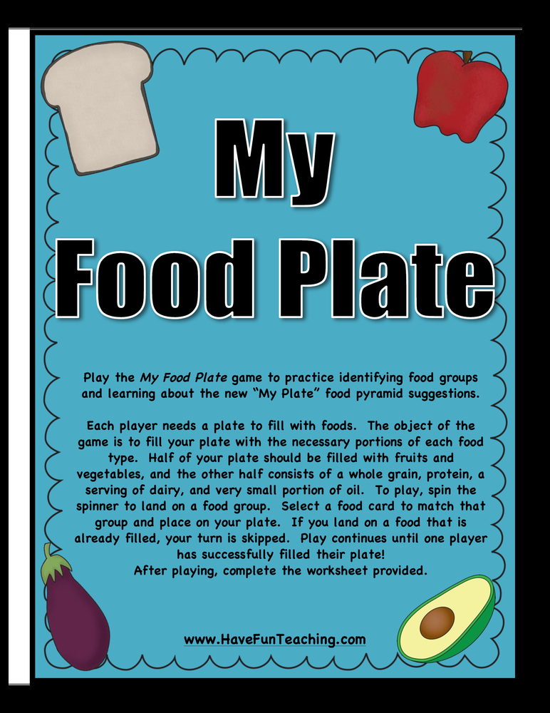My Food Plate Nutrition Activity
