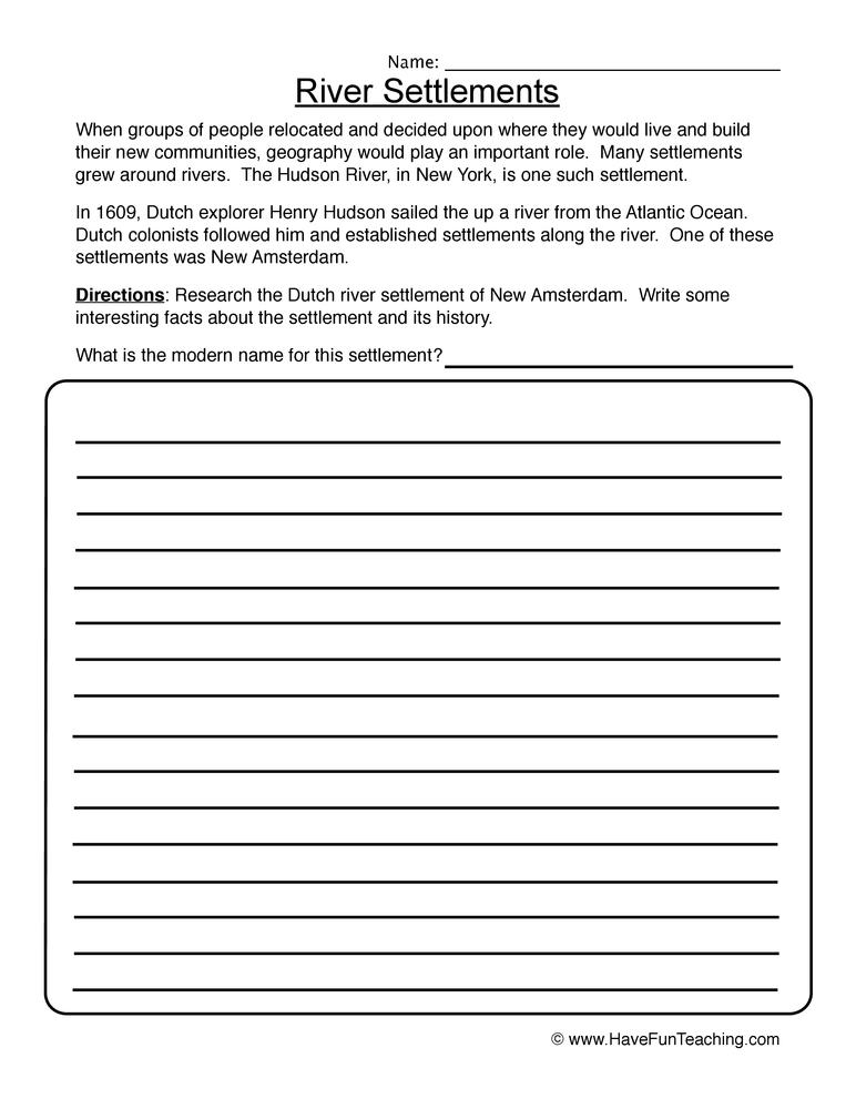 River Settlements Worksheet