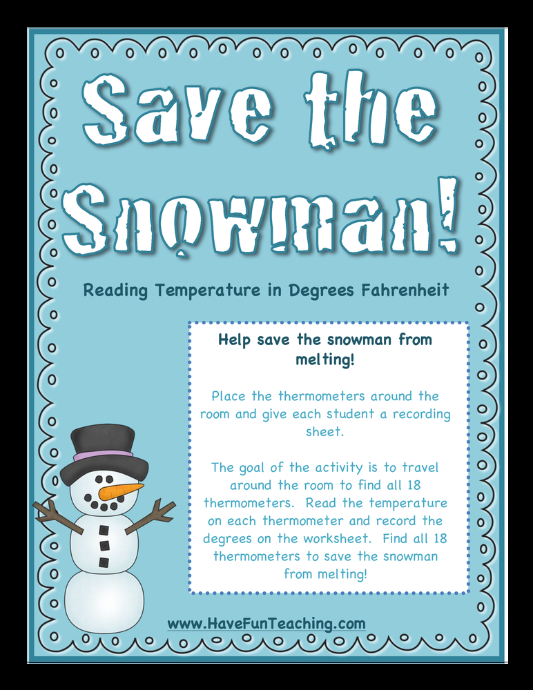 save the snowman temperature activity