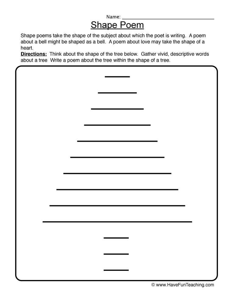 Shape Poem Worksheet 1