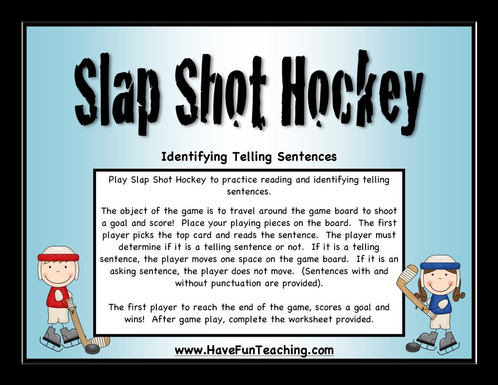 slapshot hockey telling sentences activity