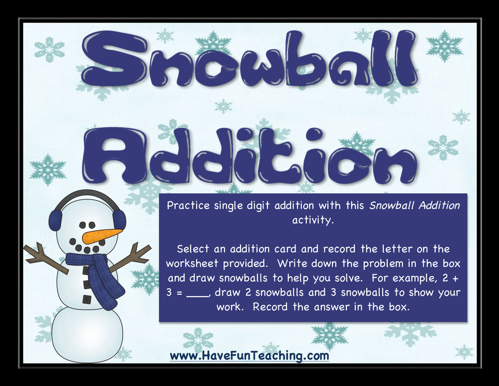 snowball addition activity