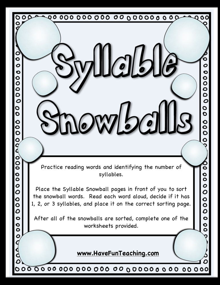 snowball syllables activity