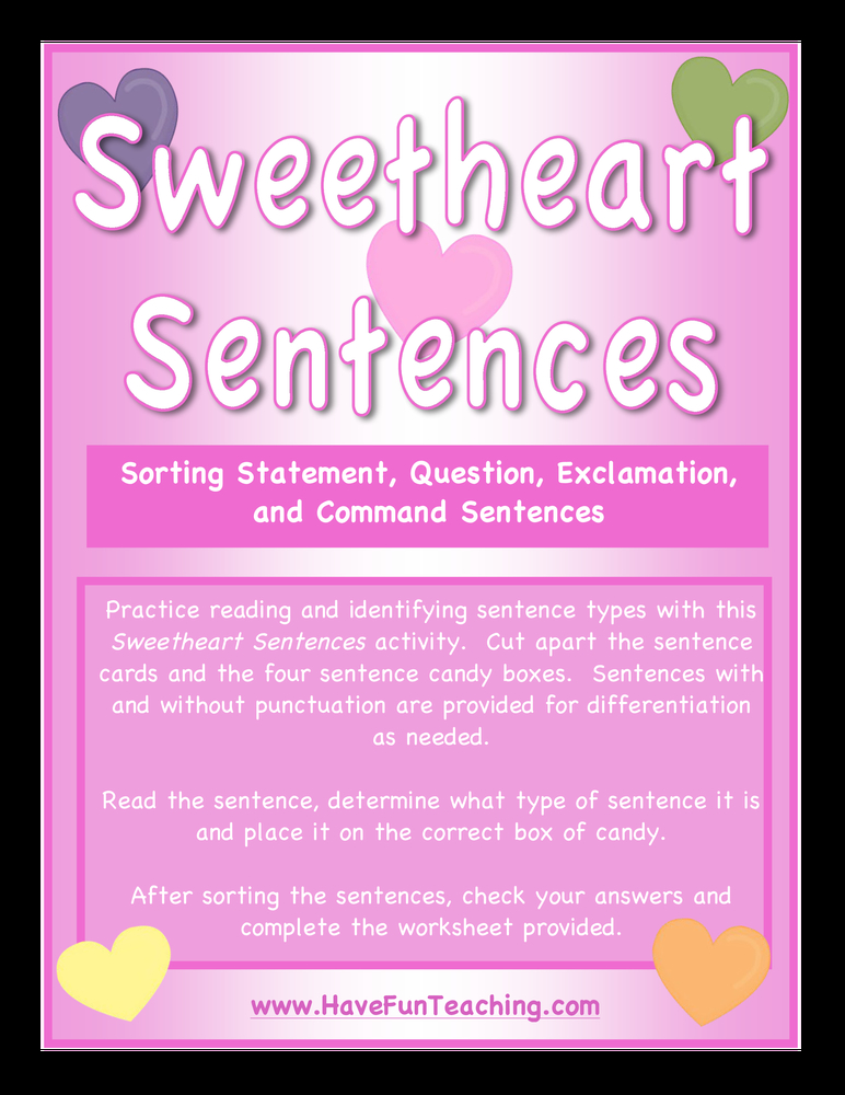 Sweetheart Sentences Activity