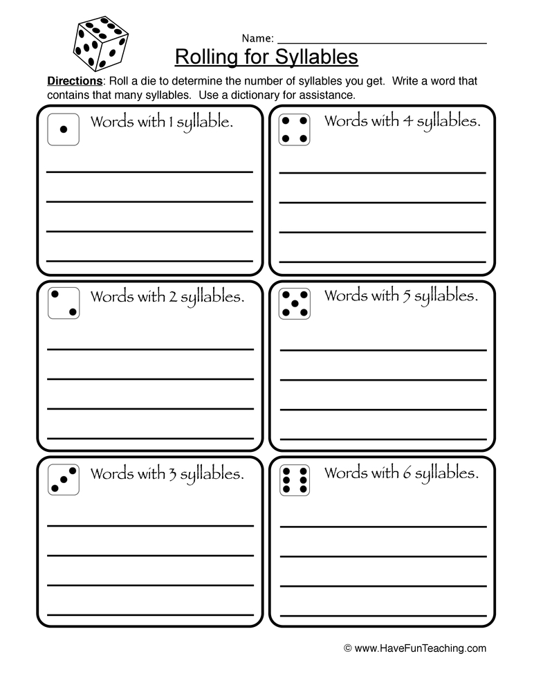syllables worksheet 1