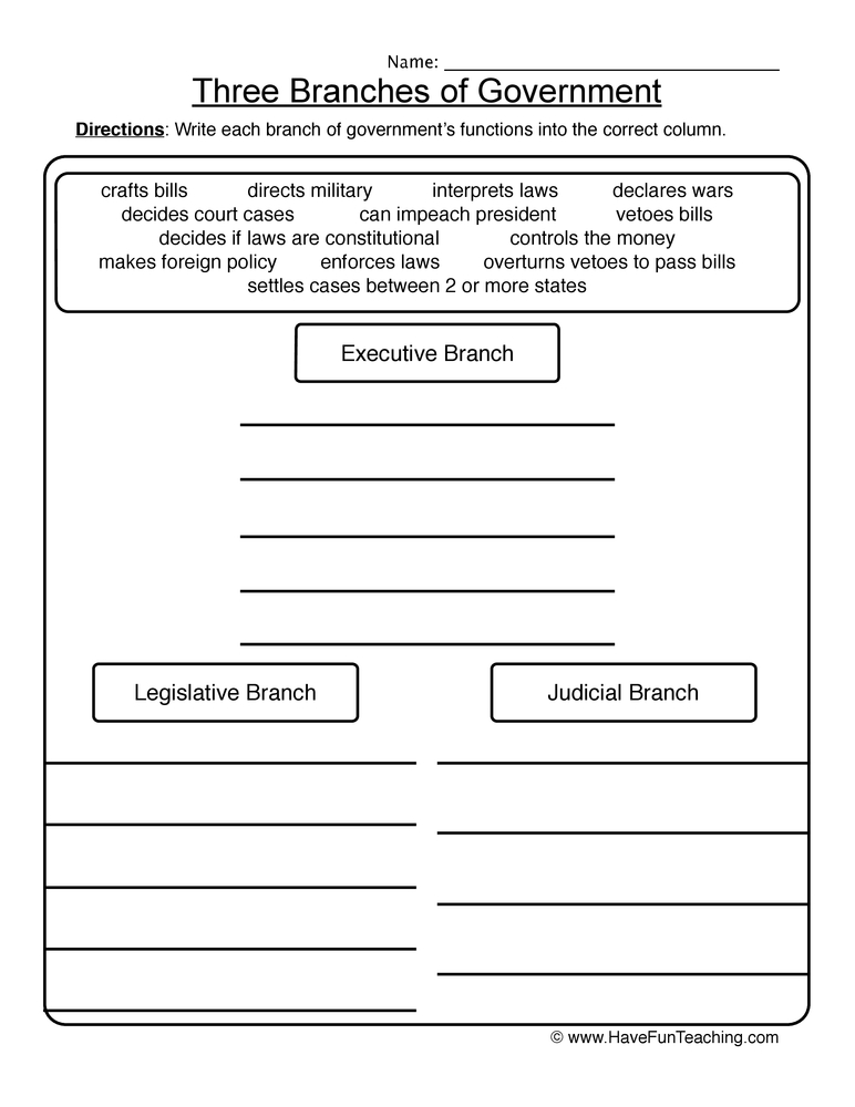 three branches of government worksheet. Black Bedroom Furniture Sets. Home Design Ideas