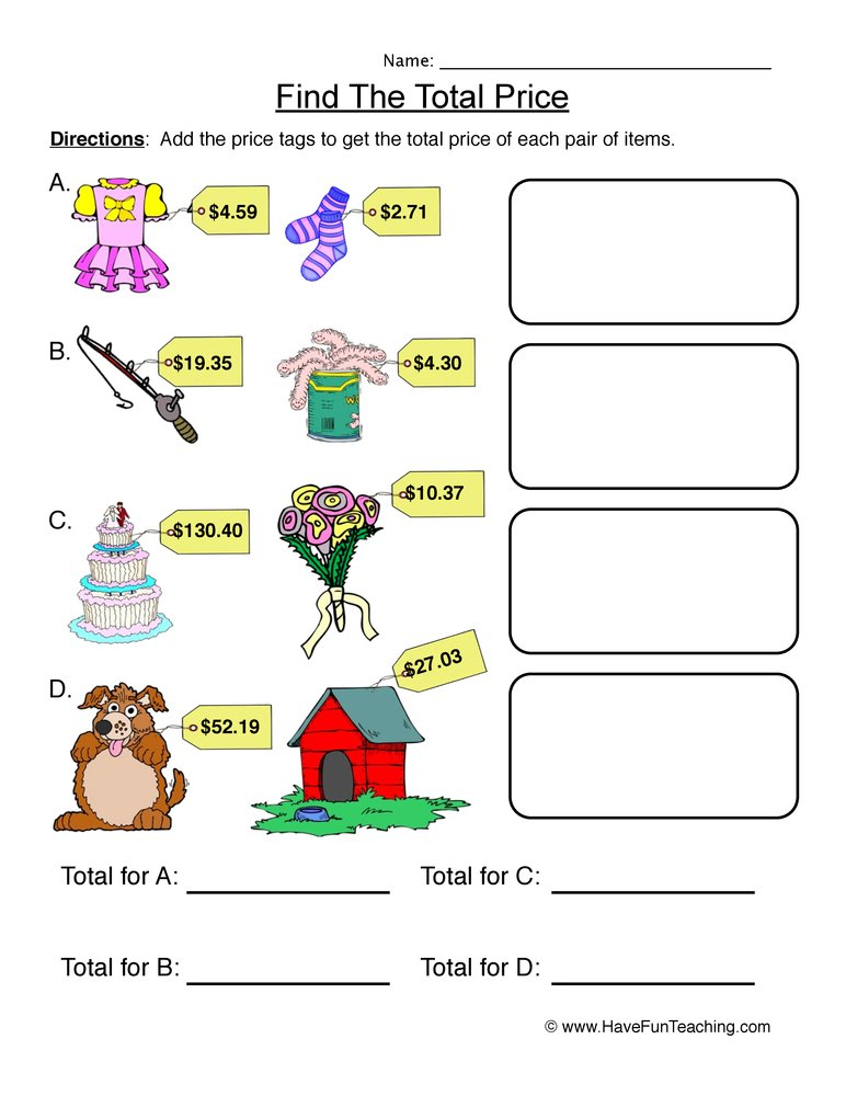 Money Worksheets : Have Fun Teaching