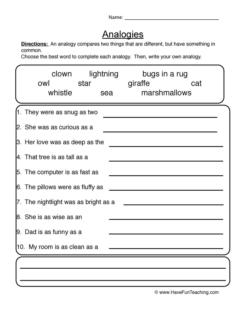 Printables Analogy Worksheets analogies worksheet 1 1