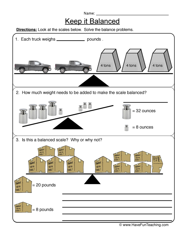 balanced scale worksheet 2