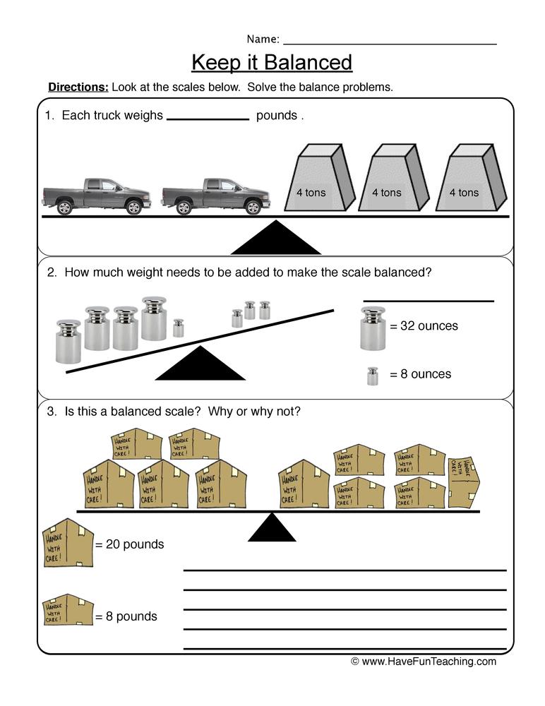 balanced scale worksheet 2
