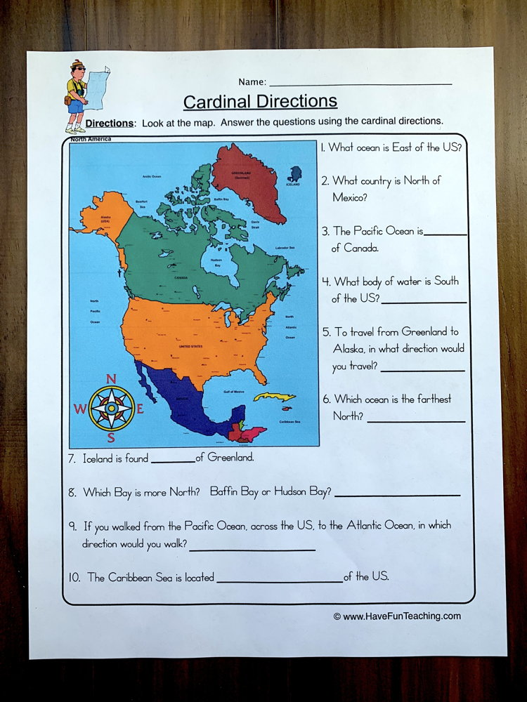 Cardinal Directions Worksheet | Have Fun Teaching on bodies of water on a map, automatic watch, using a scale on a map, parallels on a map, human features on a map, lines of longitude on a map, north magnetic pole, south on a map, north on a map, title on a map, easting and northing, atlantic provinces on a map, quartz crisis, geographic coordinate system, axis on a map, locator on a map, relief on a map, compass points on a map, relative direction, time zones on a map, windward and leeward, geography on a map, compass rose on a map, natural resources on a map, spring drive, map on a map, boxing the compass, key/legend on a map, grid system on a map, magnetic declination,