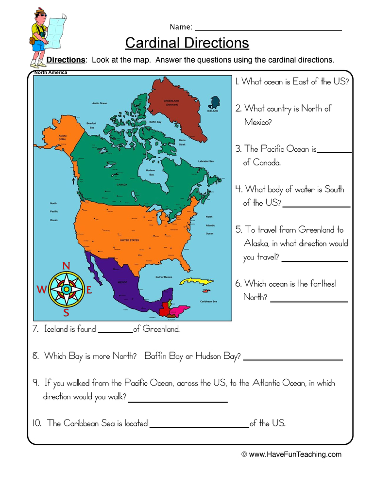Cardinal Directions Worksheet 2