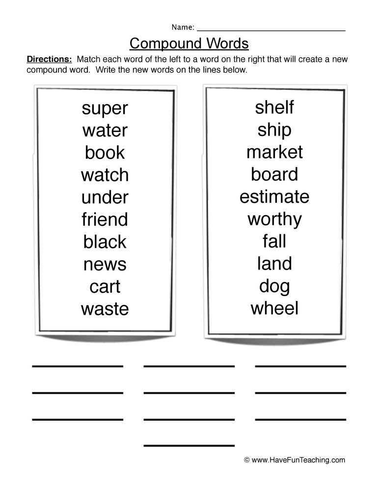 Worksheet Compound Words Worksheets 2nd Grade compound words worksheet 1 1