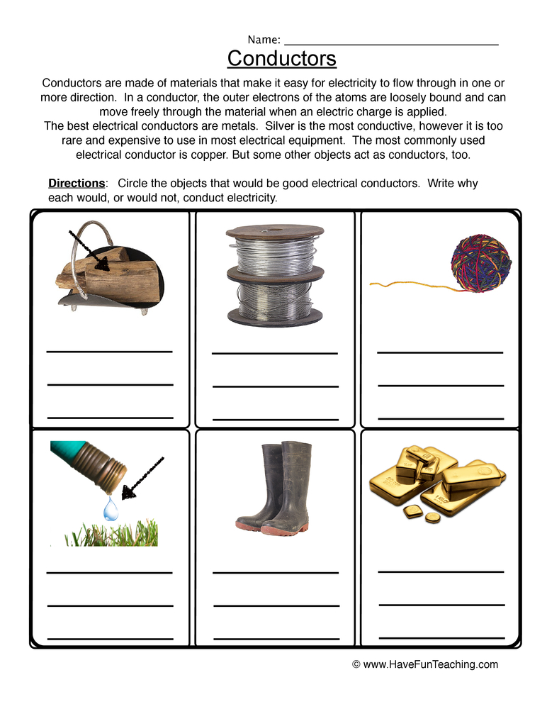 electrical conductors ks2 worksheet - 28 images ...