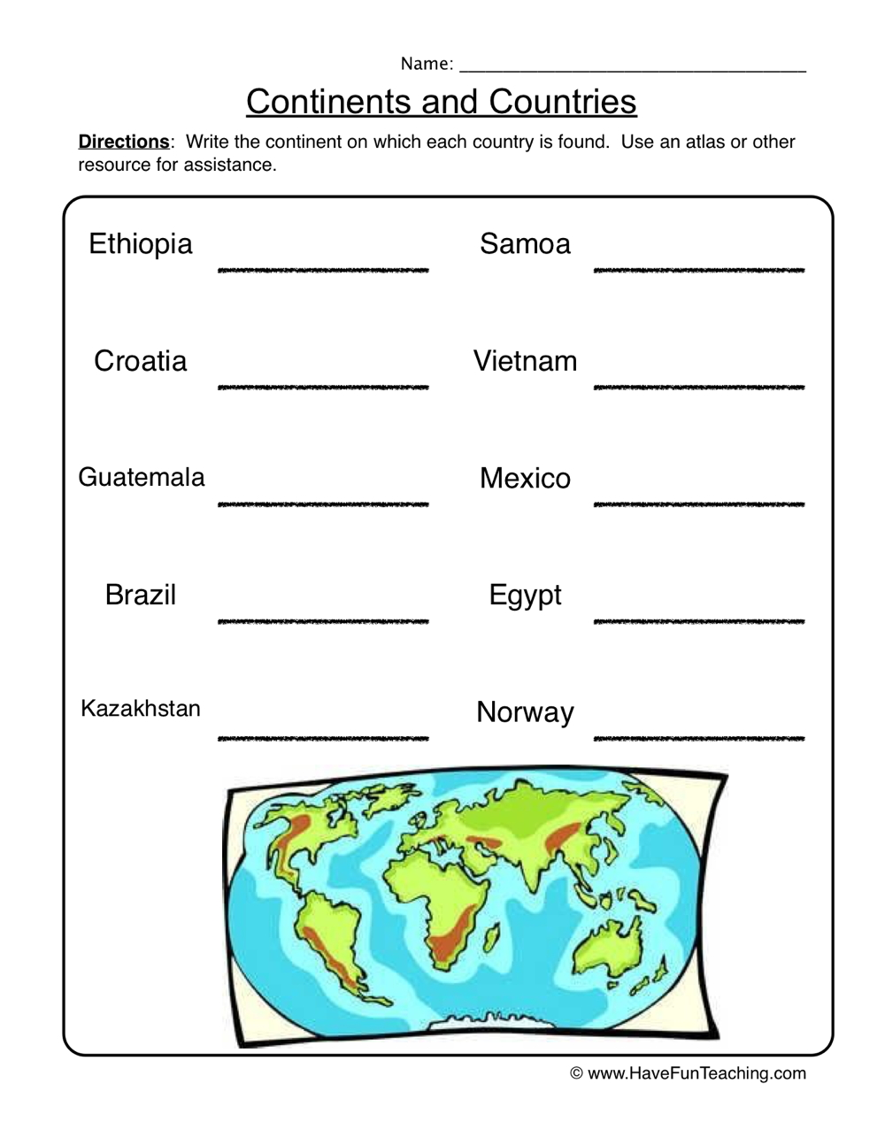Continents Worksheet - Countries